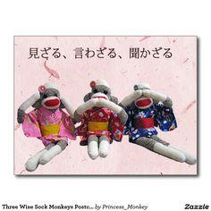 Three Wise Sock Monkeys Postcard