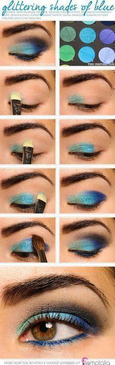 Sparkling Peacock Eye Makeup Tutorial | Gorgeous & Easy Eye Makeup Tutorials For Brown Eyes | Eye Shadow Tutorials at http://makeuptutorials.com/gorgeous-easy-eye-makeup-tutorials-brown-eyes-eye-shadow-tutorials/ #gorgeousmakeup