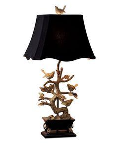 Brass Bird Table Lamp - Neiman Marcus -      beside the sofa