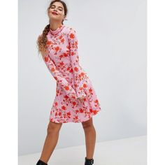 ASOS Polo Neck Mini Dress With Godets In Floral Print ($44) ❤ liked on Polyvore featuring dresses, multi, mini party dresses, short dresses, mini prom dresses, floral party dress and party dresses