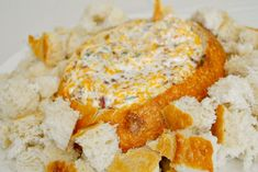 Warm Creamy Bacon & Cheese Dip in a bread bowl ~