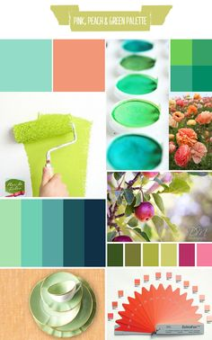 Pink, peach & green palette
