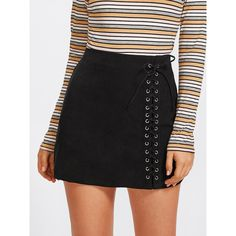 Grommet Lace Up Detail Skirt ($7.99) ❤ liked on Polyvore featuring skirts, lace up skirt, eyelet skirt and lace up front skirt