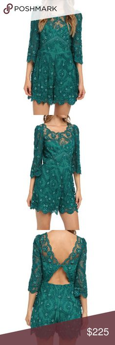 NWT Free People Romper Songbird Gorgeous emerald Free People lace romper features sequin embellishments and scalloped edges for a striking look. Round neckline and low-cut back with lower cutout detailing. Button-loop closure with zipper at back. Relaxed fit shorts fall at a flirty length. This flirty and fun romper is just absolutely stunning and selling fast. Free People Pants Jumpsuits & Rompers