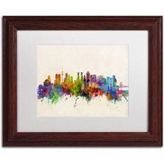 Trademark Fine Art Tokyo Japan Skyline II Canvas Art by Michael Tompsett White Matte, Wood Frame, Size: 11 x 14, Brown