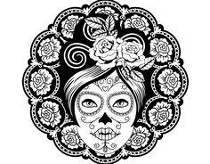 Coloriage de Fête des morts au mexicain femme pour Colorier