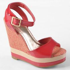 Journee Collection Energy Platform Wedges - Red