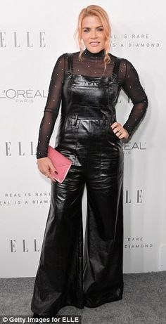 Interesting choice: Busy Phillips chose a quirky ensemble of semi sheer long-sleeved black. Leather Jumpsuit, Leather Pants, Leather Outfits, Female Stars, Rompers Women, Black Faux Leather, Leather Fashion, Overall Shorts, Women Empowerment