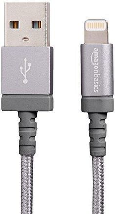 AmazonBasics Nylon Braided USB A to Lightning Compatible Cable - Apple MFi Certified - Dark Grey (3 Feet/0.9 Meter)