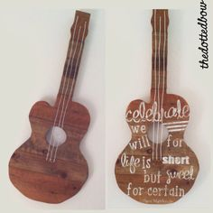 Pallet Wood Guitar Wall Art by thedottedbow on Etsy