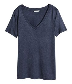 Dark blue melange. V-neck top in airy jersey with a slight sheen and a soft drape. Short sleeves.