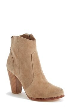 Joie 'Dalton' Boot. A sculptural stacked heel grounds a Western-inspired bootie crafted from soft suede.