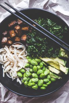 Maple Tofu Noodle Bowls with Peanut Ginger Dressing