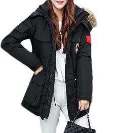 9ed8cce6a6d3c Pandapang Womens Winter Mid-Long Zipper Up Faux Fur Hooded Parka Down Coat  Black 2X