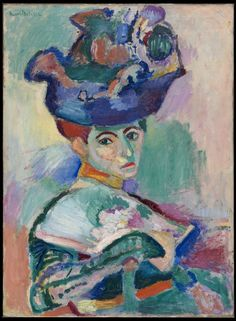 """ BLACK, OF COURSE    The artist's wife, Amélie, posed for this half-length portrait. She is depicted in an elaborate outfit with classic attributes of the French bourgeoisie: a gloved arm holding a fan and an elaborate hat perched atop her head. Her costume's vibrant hues are purely expressive, however; when asked about the hue of the dress Madame Matisse was actually wearing when she posed for the portrait, the artist allegedly replied, """"Black, of course."""""""