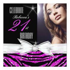 21st Birthday Party Hot Pink 21 Zebra Photo 3 Invitation 21st Birthday Invitations, 50th Birthday
