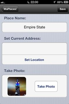 """Fast Add"" Feature. Type a name, get the auto location and take a photo. The place will be saved in seconds. Get WahPlaces for iPhone from iTunes."