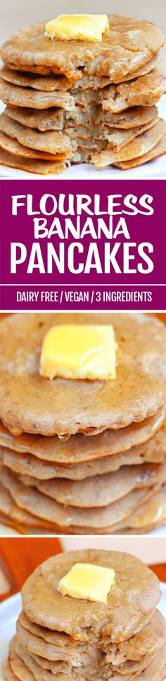 Unlike most flourless pancake recipes, this one surprisingly has no eggs and is a vegan pancake recipe with banana