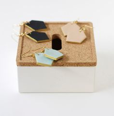 gold edged pale blue geo drop earrings by amerrymishap on Etsy, $18.99