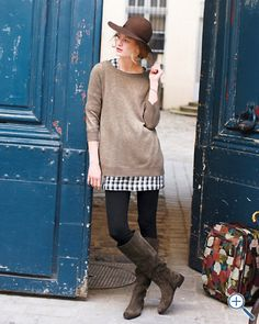 sweater, print tunic, leggings and boots...ready for fall