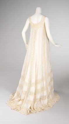 Nightgown Date: ca. 1905 Culture: French Medium: cotton Dimensions: Length at CB: 67 in. (170.2 cm)