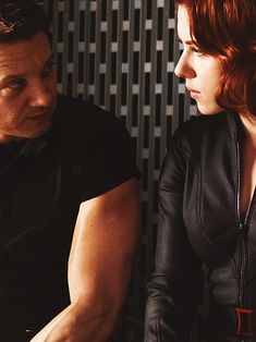 Jeremy Renner and Scarlett Johansson as Clint & Natasha from The Avengers (2012)
