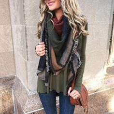 Blonde Expeditions @kaitlinkkeegan - Oversized scarves, olive ...Yooying