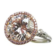 Rare Natural Faint Pink Color Diamond Ring  G.I.A.   From a unique collection of vintage more rings at http://www.1stdibs.com/jewelry/rings/more-rings/