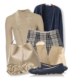 """""""Michael Kors Flats (OUTFIT ONLY!) (1)"""" by queenrachietemplateaddict ❤ liked on Polyvore featuring Topshop, Chanel, Burberry, MICHAEL Michael Kors, Maison Margiela, Sweater, pearls, cardigan, BlueAndBeige and michaelkorsflats"""