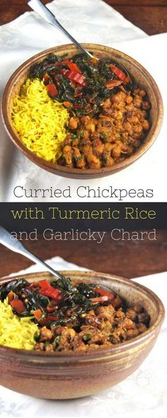 Curried Chickpeas Bowl with Turmeric Rice and Garlicky Chard busy moms, healthy moms, healthy food, health and fitness, healthy tips Curry Recipes, Veggie Recipes, Mexican Food Recipes, Whole Food Recipes, Vegetarian Recipes, Cooking Recipes, Healthy Recipes, Vegetarian Cooking, Hamburger Recipes
