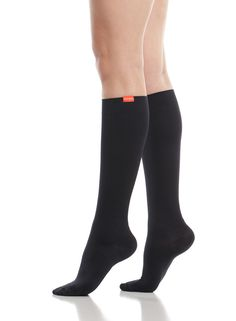 Women's Solid: Black (Moisture-wick Nylon) Now Available in Wide Calf - VIM & VIGR Fashionable Compression Socks