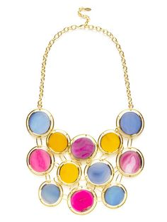 Multicolor Agate & Gold Cutout Disc Bib Necklace by Isharya on Gilt.com