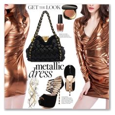 """Metalic Dress"" by jecakns ❤ liked on Polyvore featuring Dolce&Gabbana, OPI, outfit, eveningdress, metallicdress and goldenfress"