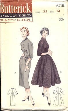 Vintage 1950's Womens Dress Pattern, Butterick 6715 Sewing Pattern, Size 14