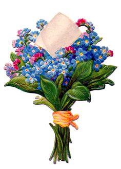 Vintage Forget-me-nots Label ~ http://thegraphicsfairy.com/wp-content/uploads/2013/05/Floral-Bouquet-Vintage-Image-GraphicsFairy2.jpg