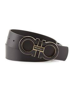 Salvatore Ferragamo Men's Double-Gancini-Buckle Belt, Black, Size: 36IN/90CM