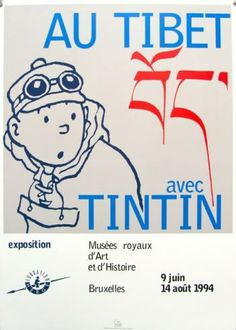 "HERGÉ . TINTIN - Affiche d'expo ""Au Tibet avec Tintin"" 1994"