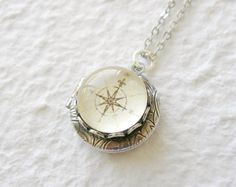 Antique Compass Locket Necklace - Pick your design Great gift for grads CHOOSE from brass or silver on Etsy, $23.50