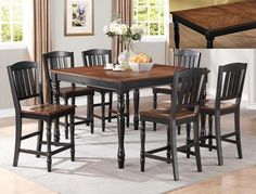 """Ramona  Counter Height  Table and 4 Chairs  $799.00     Table  54"""" x 36""""~54"""" x 36"""" H  (With 18"""" Butterffly Leaf)     Chair  19.3"""" x 17.5"""" x 42"""" H   C/M 2738BK"""