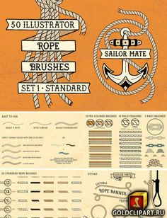 Sailor Mate's Rope Brushes Illustrator 2222543 AI | 18 Mb Here's what's included in the pack: • 20 Rope Brushes • 15 Pre-Colored Rope Brushes • 10 Bold Brushes • 5 Extra Knot Brushes (so far!) • Extra Bonus Objects • Quick Reference Brush Guides Works with mouse and iPad Pro / Apple Pencil via Astropad. Illustrator CC