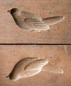 Japanese Meiji Antique 3D Kashigata Bird Bush Warbler Carved Wooden Cake Mold