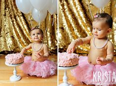 ©2013 Krista Guenin/Krista Photography www.kristaphoto.com first birthday cake smash with pink cake on white stand baby girl in pink tutu, pink bow and pearls white balloons and gold backdrop