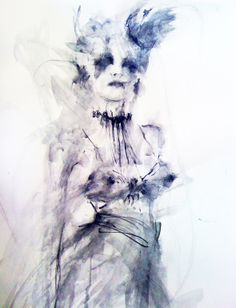 """www.SaatchiOnline.com Artist: Fiona Maclean; Gouache, 2010, Painting """"Gothic Queen - from the Beautiful Creatures series"""" 24 x 16"""