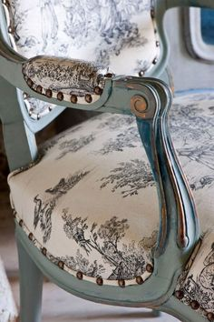 Gilding is synonymous with French elegance. However, this is not about looking flashy - it's subtle, simple, and naturalistic, but still very opulent. This gilded rococo chair sits happily in my house in France. I love how the combination of Aubusson and some brass leaf looks peaking out from behind Duck Egg Blue as you can see from this little detail. Perfect when paired with classic toile de Jouy fabric.