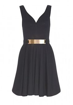 Black Belted Skater Dress. #pintowin @?? ? Direct