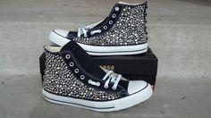 Custom Studded Converse Shoes Swarvoski  Spikes by CustomStudded, $225.00