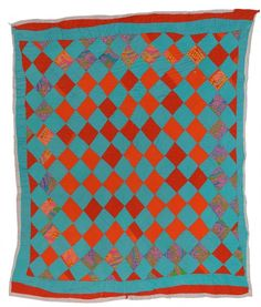 """A quilt by Mary L. Bennett (born 1942) of Gee's Bend, Alabama. """"Diamonds""""…"""