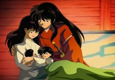 The moment when, under the night of the new moon, the demon InuYasha's hair darkens, & Kagome gives birth again - Widespread goodness by Noble-Maiden.deviantart.com