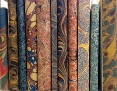 Antique marbled papers.