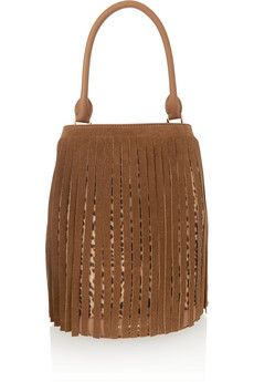 Burberry Prorsum Fringed suede and leopard-print calf hair tote, $3,095 | NET-A-PORTER